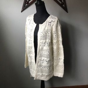 SOFT SURROUNDINGS Ivory open front chunky cardigan